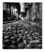 Acorn Street Cobblestone Detail Boston Ma Black And White Fleece Blanket