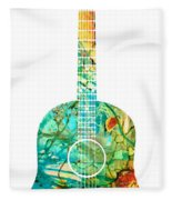 Acoustic Guitar 2 - Colorful Abstract Musical Instrument Fleece Blanket