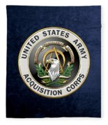 Acquisition Corps - A A C Branch Insignia Over Blue Velvet Fleece Blanket