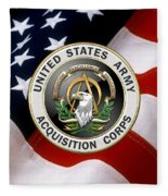 Acquisition Corps - A A C Branch Insignia Over U. S. Flag Fleece Blanket