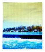 Across The Dam To Boathouse Row. Fleece Blanket
