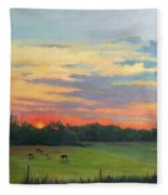 Across The Pasture Fleece Blanket