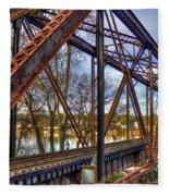 Across The Water 6th Street Rr Bridge Augusta Georgia Art Fleece Blanket
