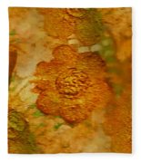 Acryl Painting Goldflowers Fleece Blanket
