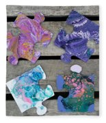 Acrylic Pouring Puzzle Pieces Fleece Blanket