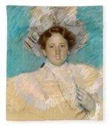 Adaline Havemeyer In A White Hat Fleece Blanket