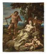Adam And Eve With The Infants Cain And Abel Fleece Blanket