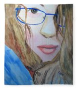 Addie In Blue Fleece Blanket