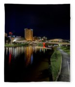 Adelaide Riverbank At Night Iv Fleece Blanket