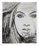 Adele Charcoal Sketch Fleece Blanket