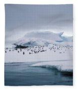 Adelie Penguins On Iceberg Weddell Sea Fleece Blanket