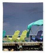 Adirondack Chairs At Coyaba Mahoe Bay Jamaica. Fleece Blanket