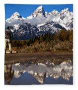 Admiring The Teton Sights Fleece Blanket
