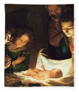 Adoration Of The Baby Fleece Blanket