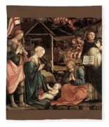 Adoration Of The Child With Saints 1460 65 Fra Filippo Lippi Fleece Blanket
