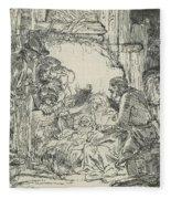 Adoration Of The Shepherds, With Lamp Fleece Blanket