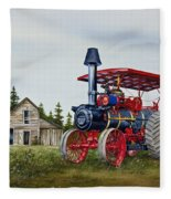 Advance Rumely Steam Traction Engine Fleece Blanket