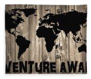 Adventure Awaits Graphic Barn Door Fleece Blanket