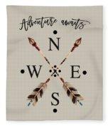 Adventure Waits Typography Arrows Compass Cardinal Directions Fleece Blanket