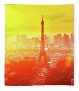 Sunset In Paris  Fleece Blanket