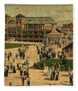 Aerial Birds Eye View Of Long Beach Pier And Beachfront California Circa 1895 Fleece Blanket