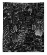 Aerial New York City Skyscrapers Bw Fleece Blanket
