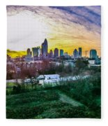 Aerial Of Charlotte North Carolina Skyline Fleece Blanket