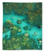 Aerial Of Two Kayakers Fleece Blanket