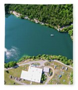 Aerial Over Blue Stone Quarry In North Carolina Fleece Blanket