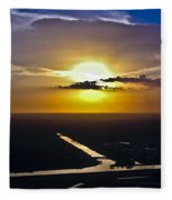 Aerial Sunset Over Canal Fleece Blanket