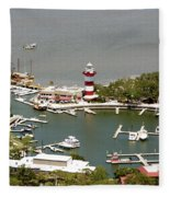 Aerial View Harbour Town Lighthouse In Hilton Head Island Fleece Blanket