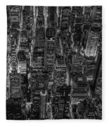 Aerial View Midtown Manhattan Nyc Bw Fleece Blanket