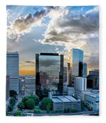 Aerial View Of Charlotte City Skyline At Sunset Fleece Blanket by Alex Grichenko