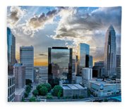 Aerial View Of Charlotte City Skyline At Sunset Fleece Blanket