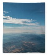 Aerial View Of Mountain Formation With Low Clouds During Daytime Fleece Blanket