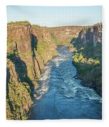 Aerial View Of Sunlit Rapids In Canyon Fleece Blanket