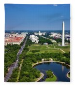 Aerial View Of The National Mall And Washington Monument Fleece Blanket