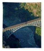 Aerial View Of Victoria Falls Suspension Bridge Fleece Blanket