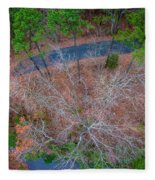 Aerial View Over Wooded Forest And Road Fleece Blanket