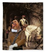 Afghan Hound-at The Tavern Canvas Fine Art Print Fleece Blanket