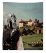 Afghan Hound-falconer And Castle Canvas Fine Art Print Fleece Blanket