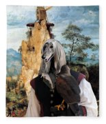 Afghan Hound-falconer And Windmill Canvas Fine Art Print Fleece Blanket