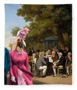Afghan Hound-politicians In The Tuileries Gardens  Canvas Fine Art Print Fleece Blanket
