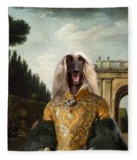 Afghan Hound-the Afternoon Promenade In Rome  Canvas Fine Art Print Fleece Blanket