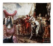 Afghan Hound-the Reverance To The Queen Canvas Fine Art Print Fleece Blanket