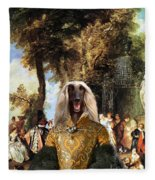 Afghan Hound-the Winch Canvas Fine Art Print Fleece Blanket