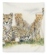 African Cheetah Fleece Blanket by Barbara Keith