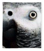 African Gray Parrot Art - Softy Fleece Blanket