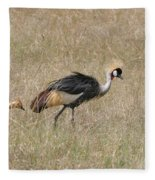 African Grey Crown Crane Fleece Blanket