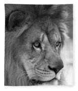 African Lion #8 Black And White Fleece Blanket